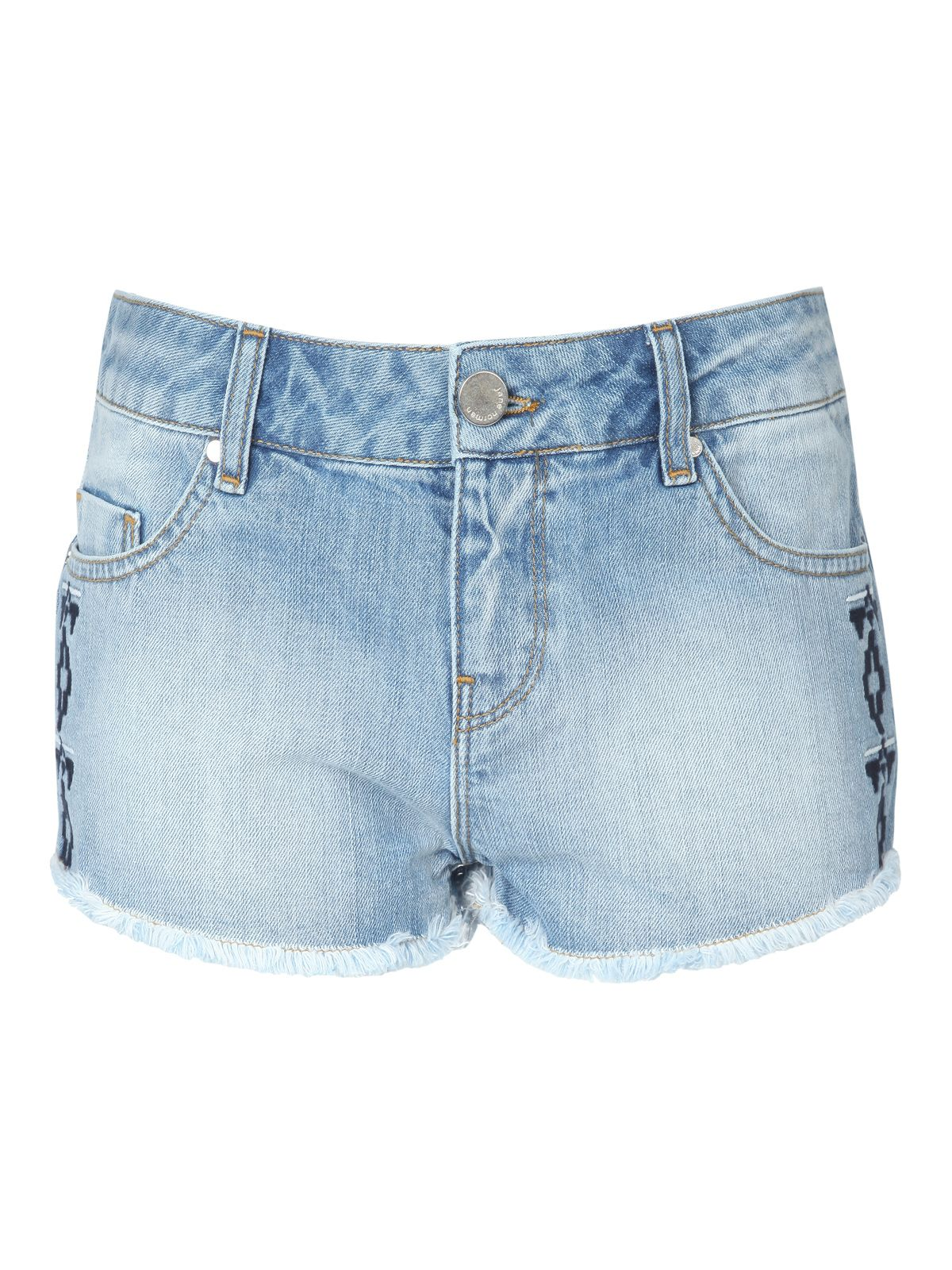 Embroidered Denim Hotpant Shorts