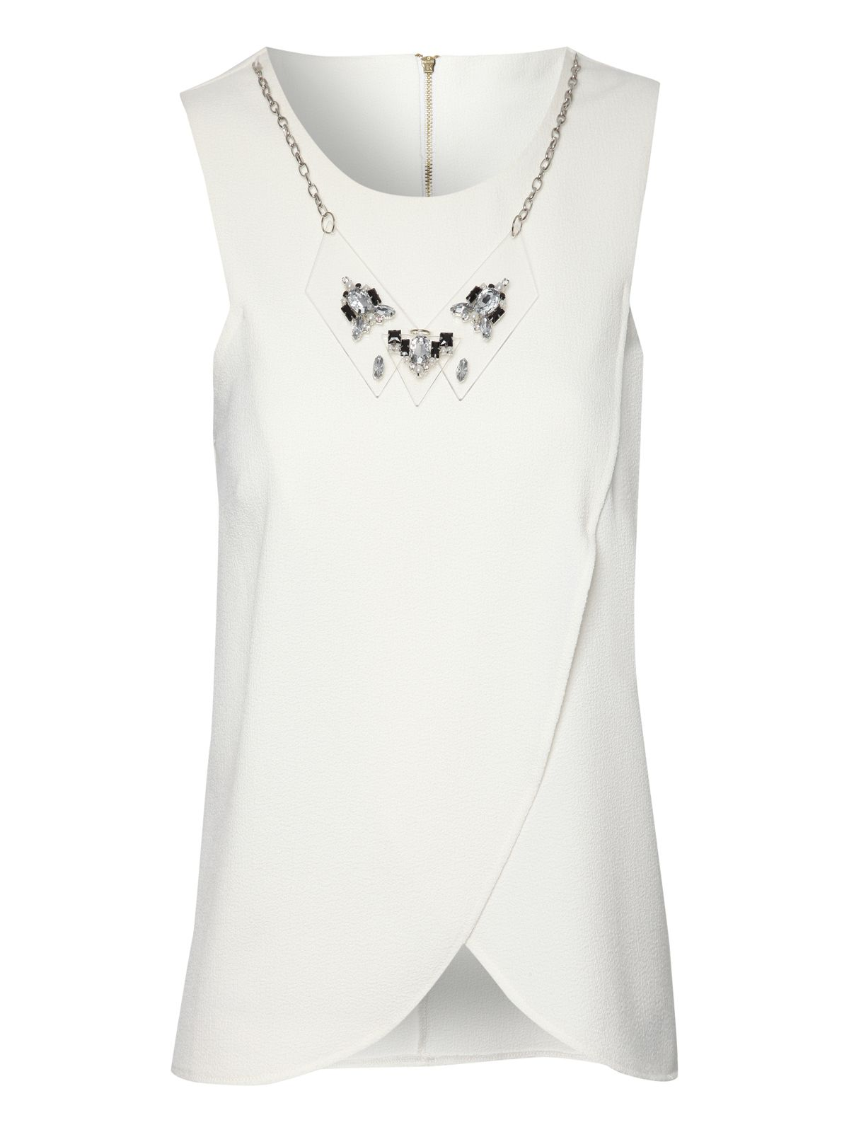 Tulip wrap sleeveless top with necklace