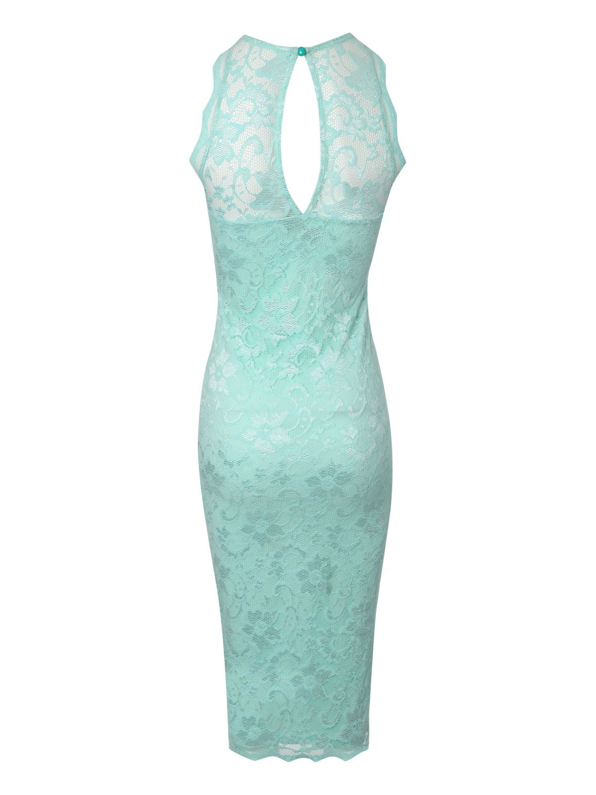 High neck lace bodycon dress