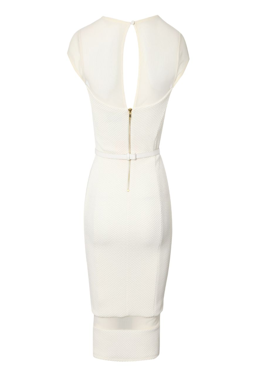 Mesh panel bodycon dress with belt