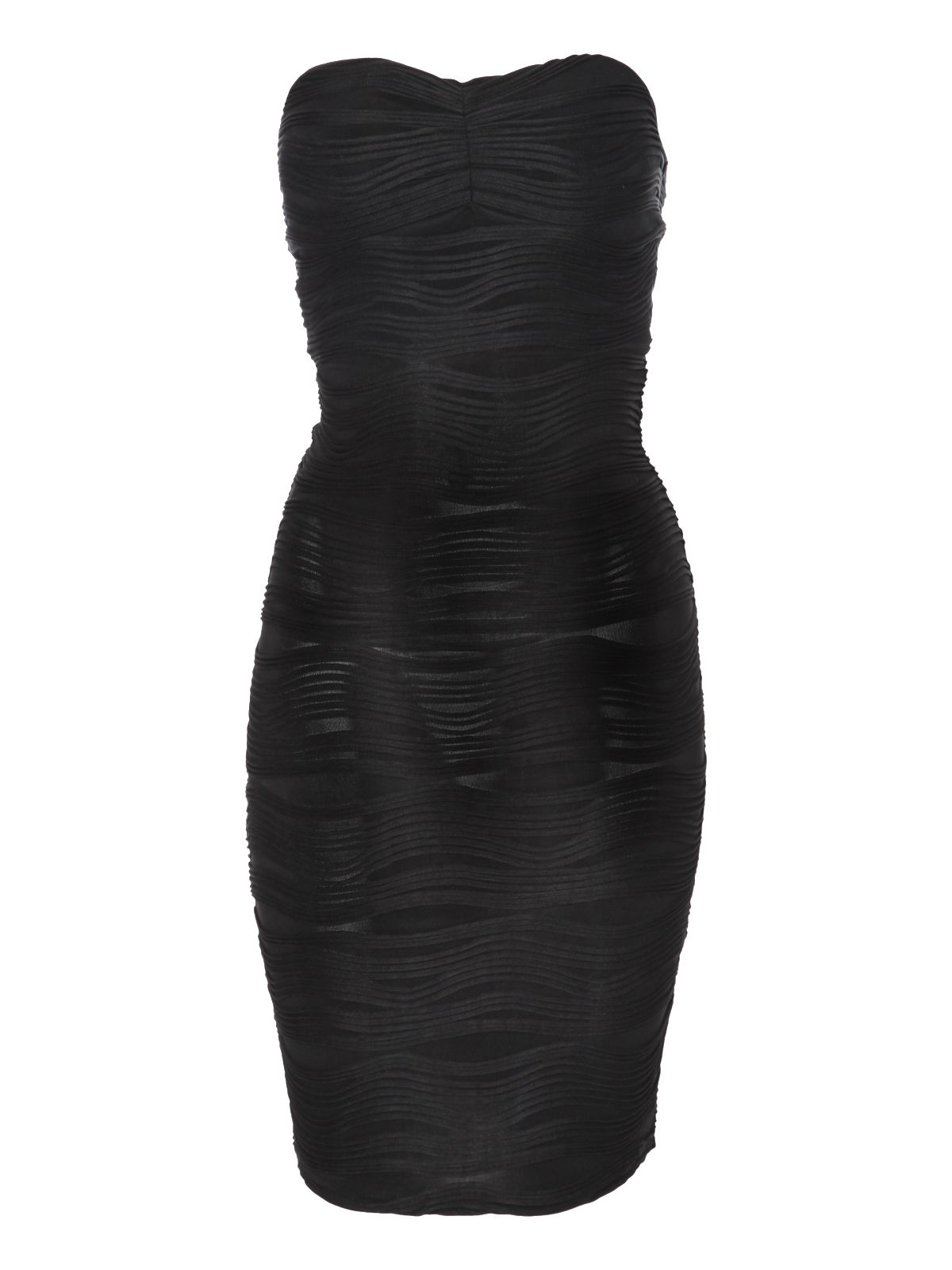 Bandeau wave textured bodycon dress