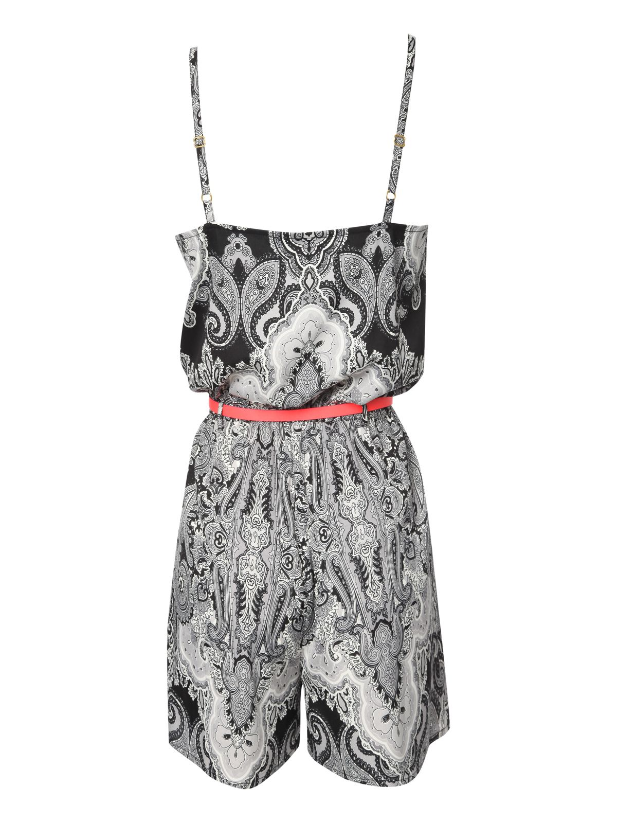 Paisley Print Belted Playsuit