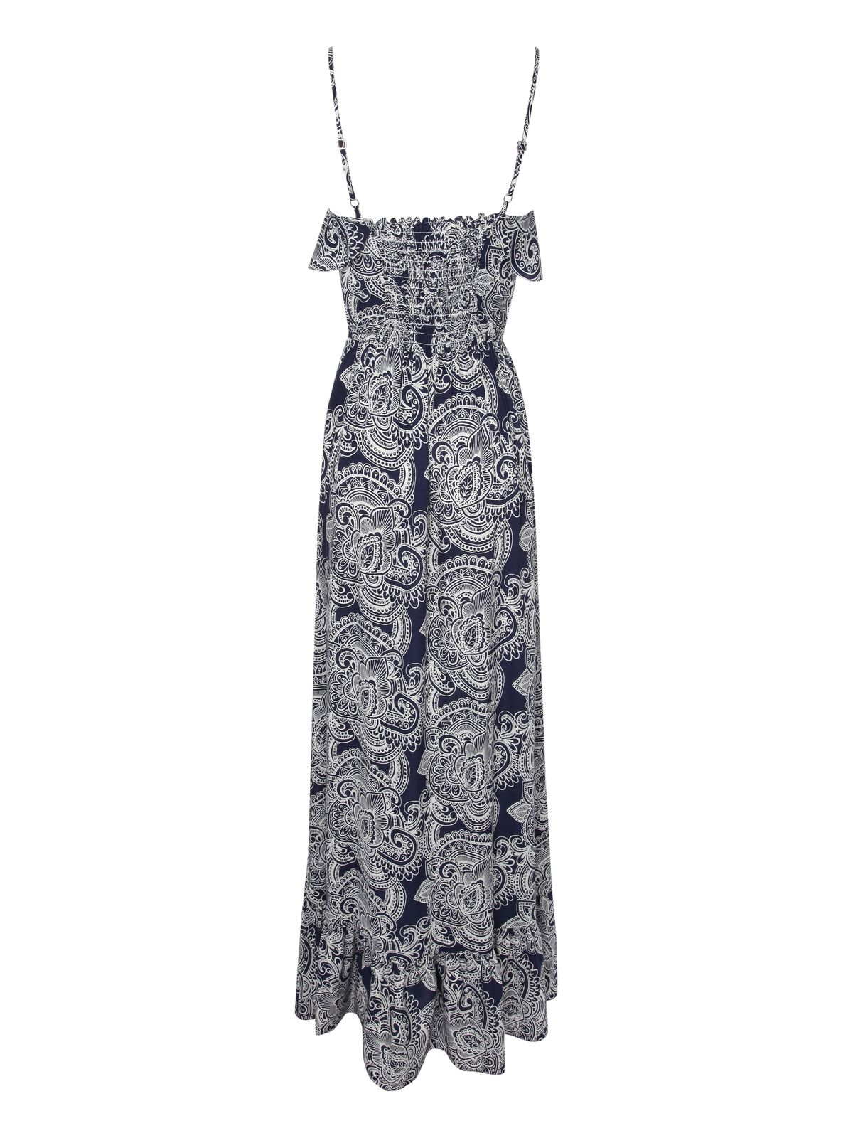Paisley print ruffle maxi dress