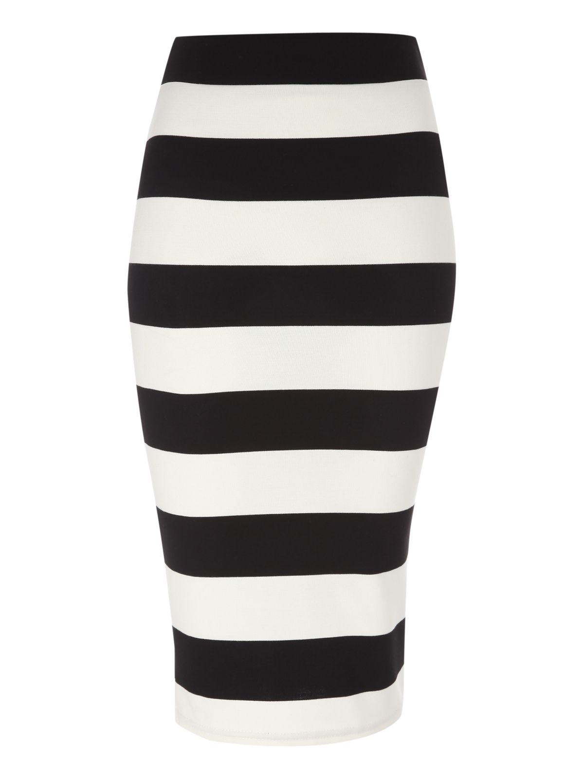 Monochrome stripe pencil skirt