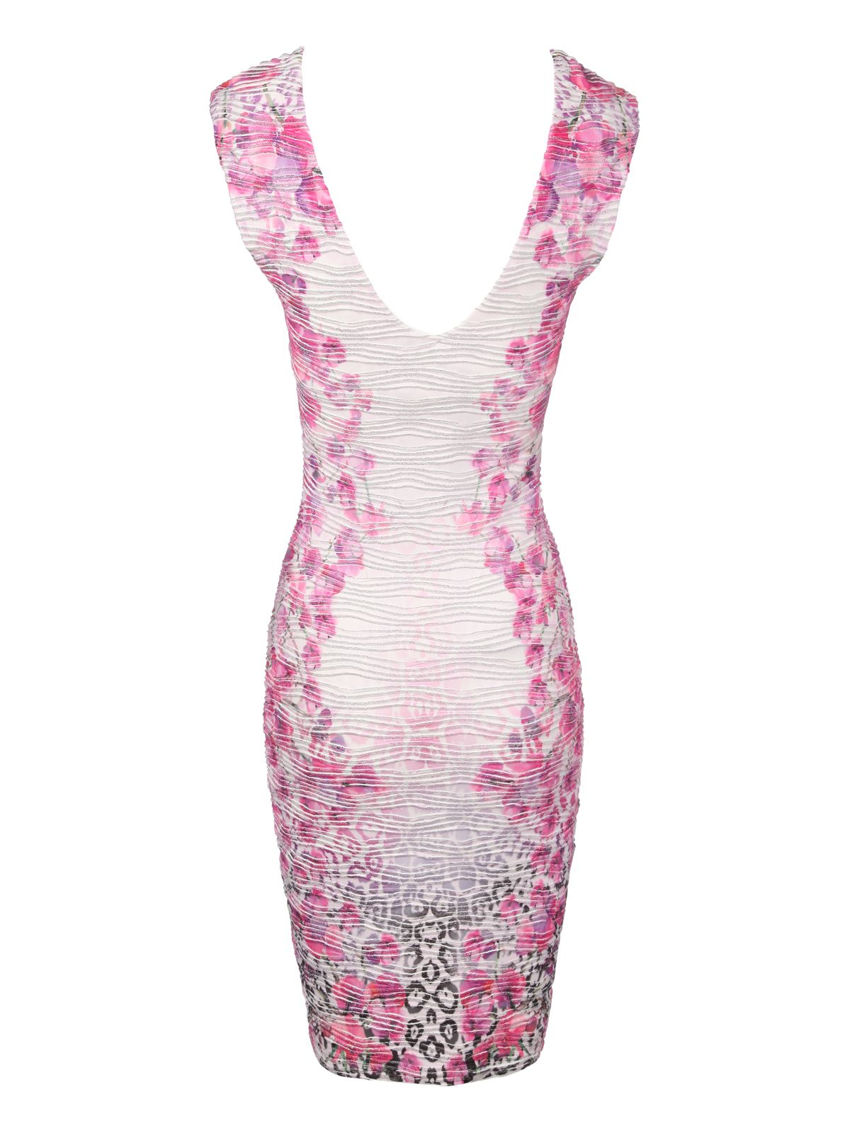 Floral print textured bodycon dress