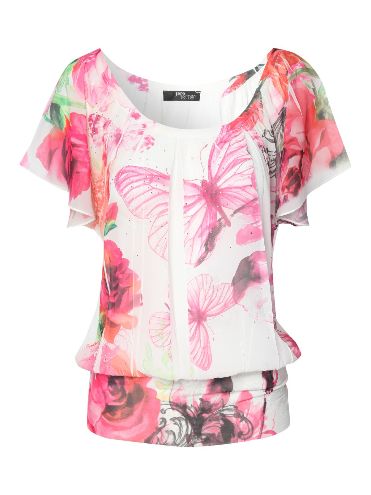 Butterfly rose sub print gypsy top