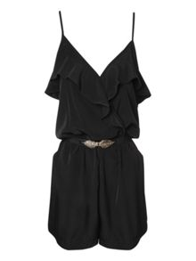 Belted frill detail sleeveless playsuit