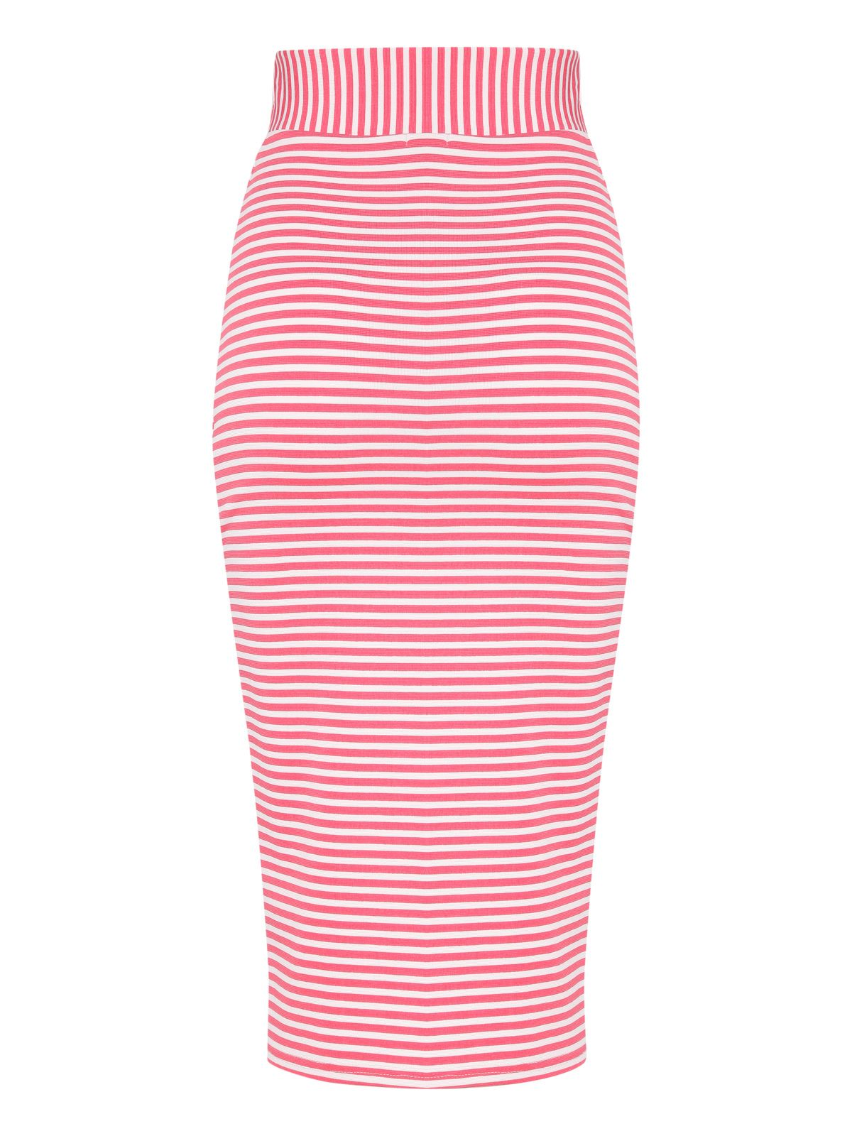 Asymmetric stripe pencil skirt