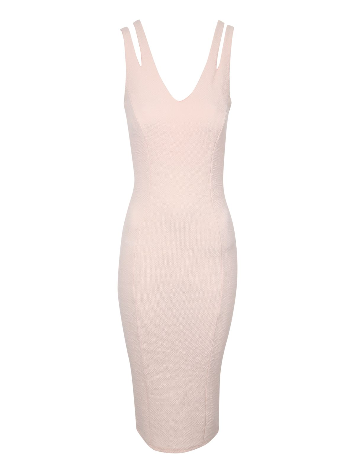 Pale Pink Split Strap Bodycon Dress