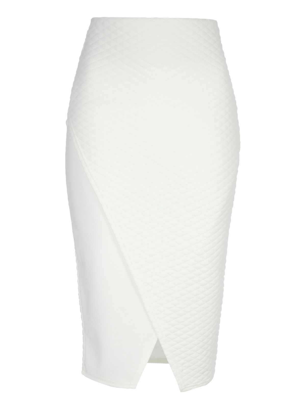 Asymmetric Quilted Pencil Skirt
