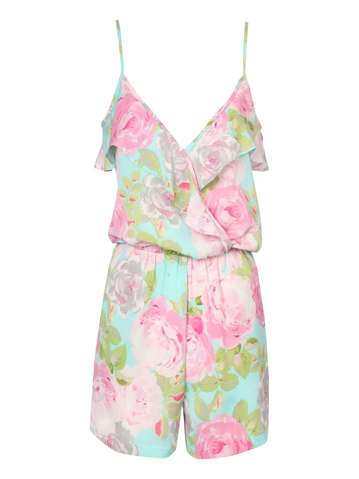 Floral frill front playsuit