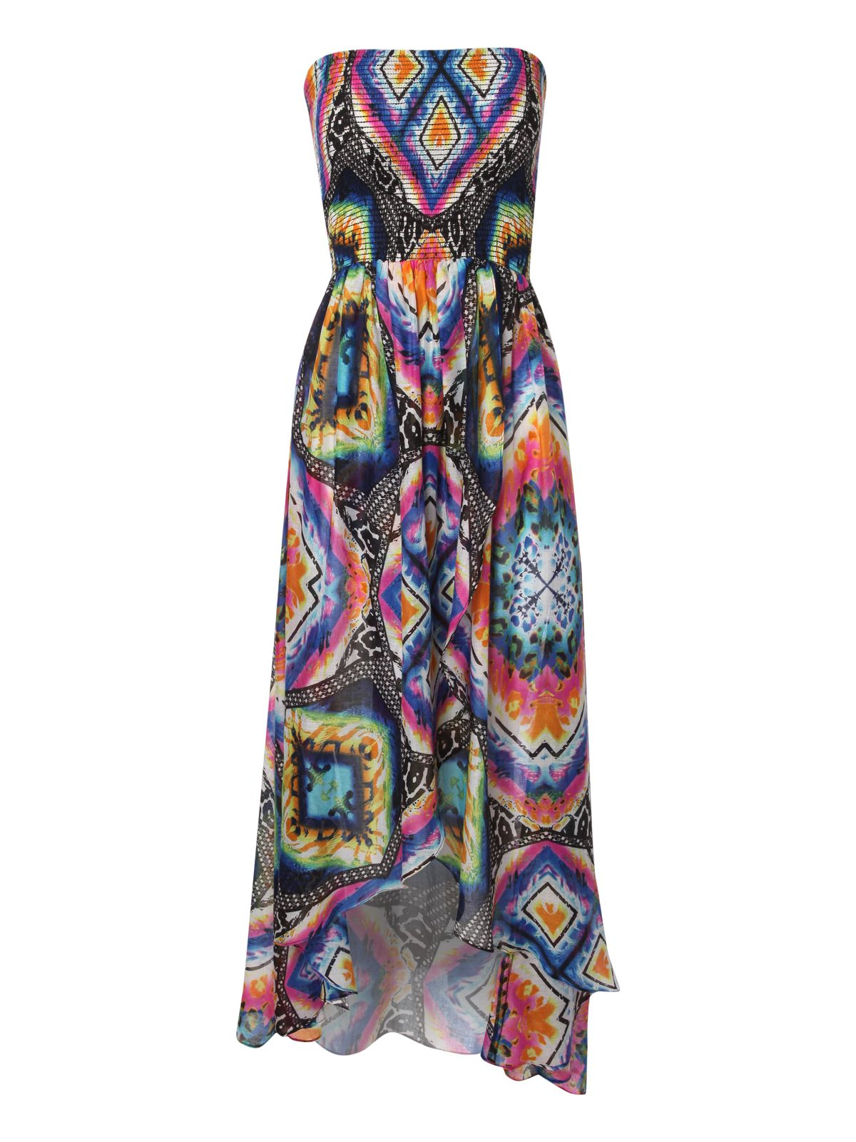 Printed dip hem beach dress