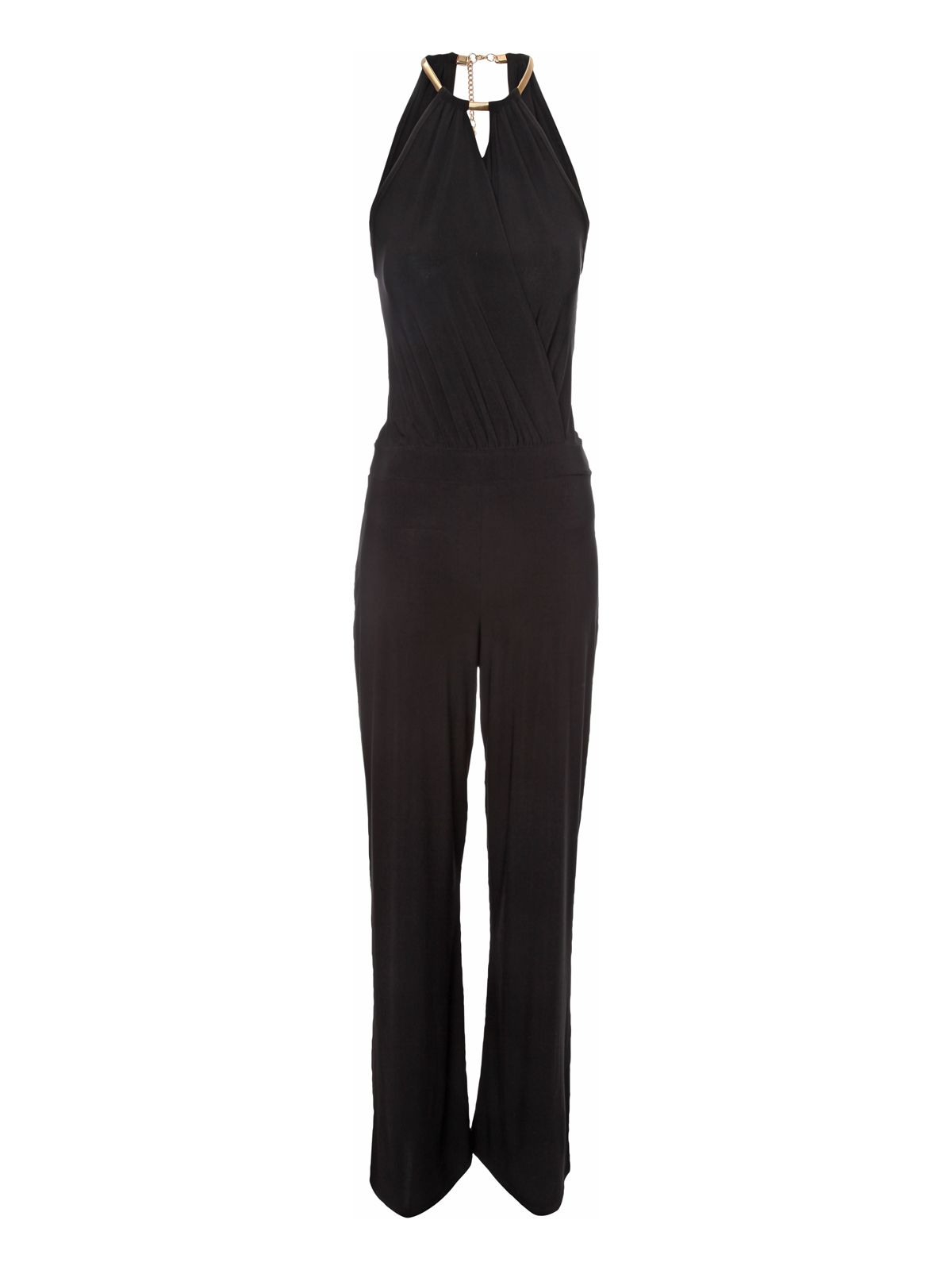 Black halter neck trim jumpsuit