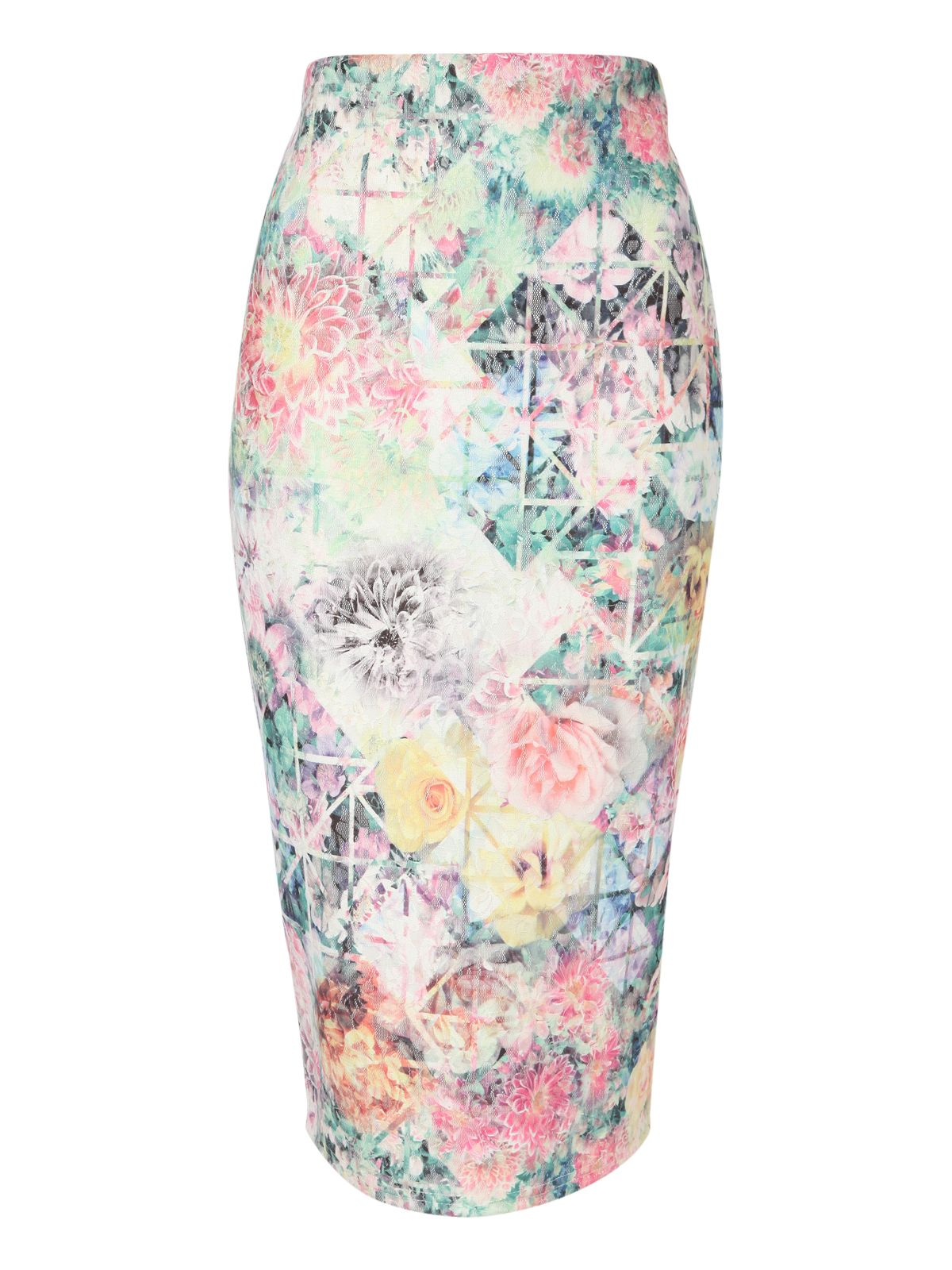 Floral print lace pencil skirt