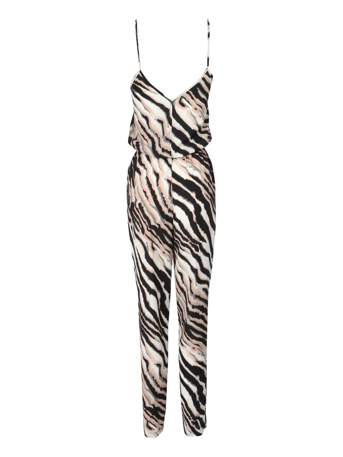 Belted animal print jumpsuit