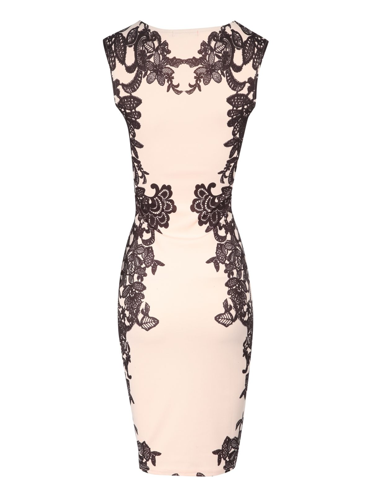 Lace print embellished bodycon dress