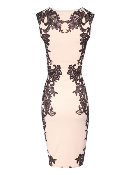 Jane Norman Lace print embellished bodycon dress