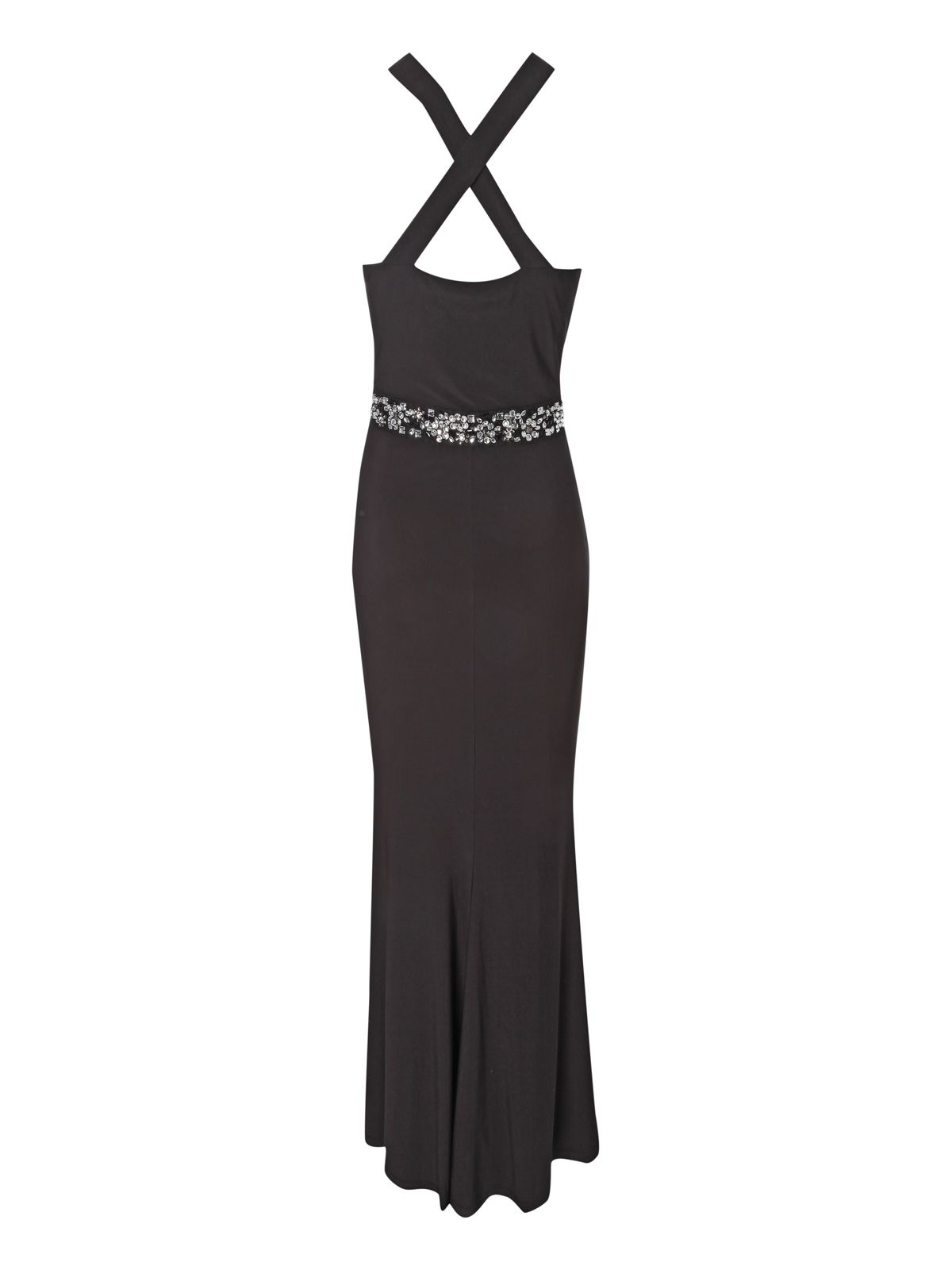 Halter neck jewel embellished maxi dress