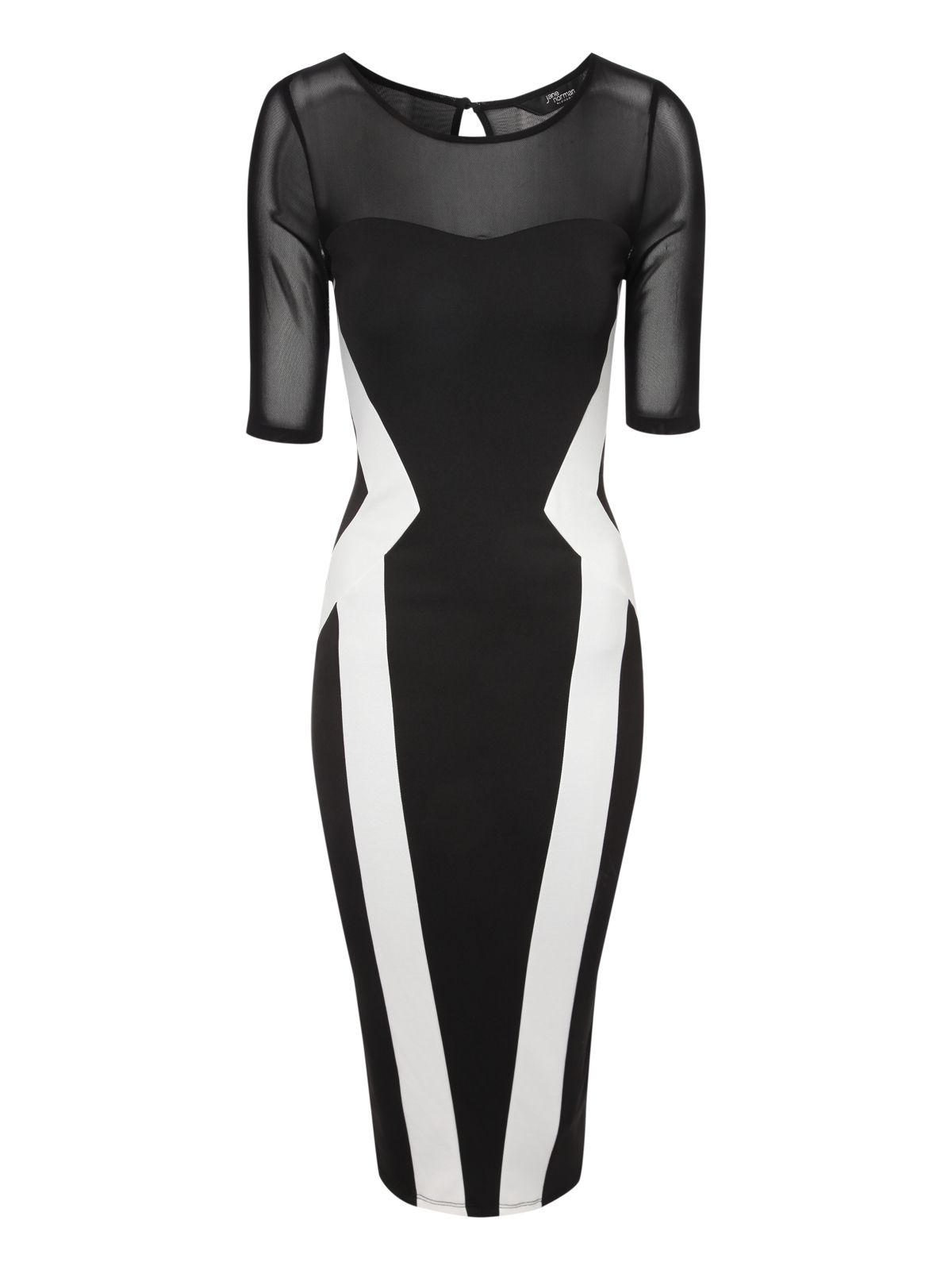 Monochrome Mesh Panel Dress