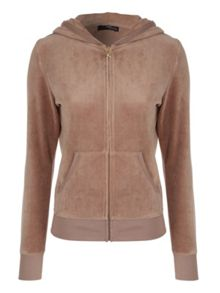 Velour Embellished Zip Up Jacket