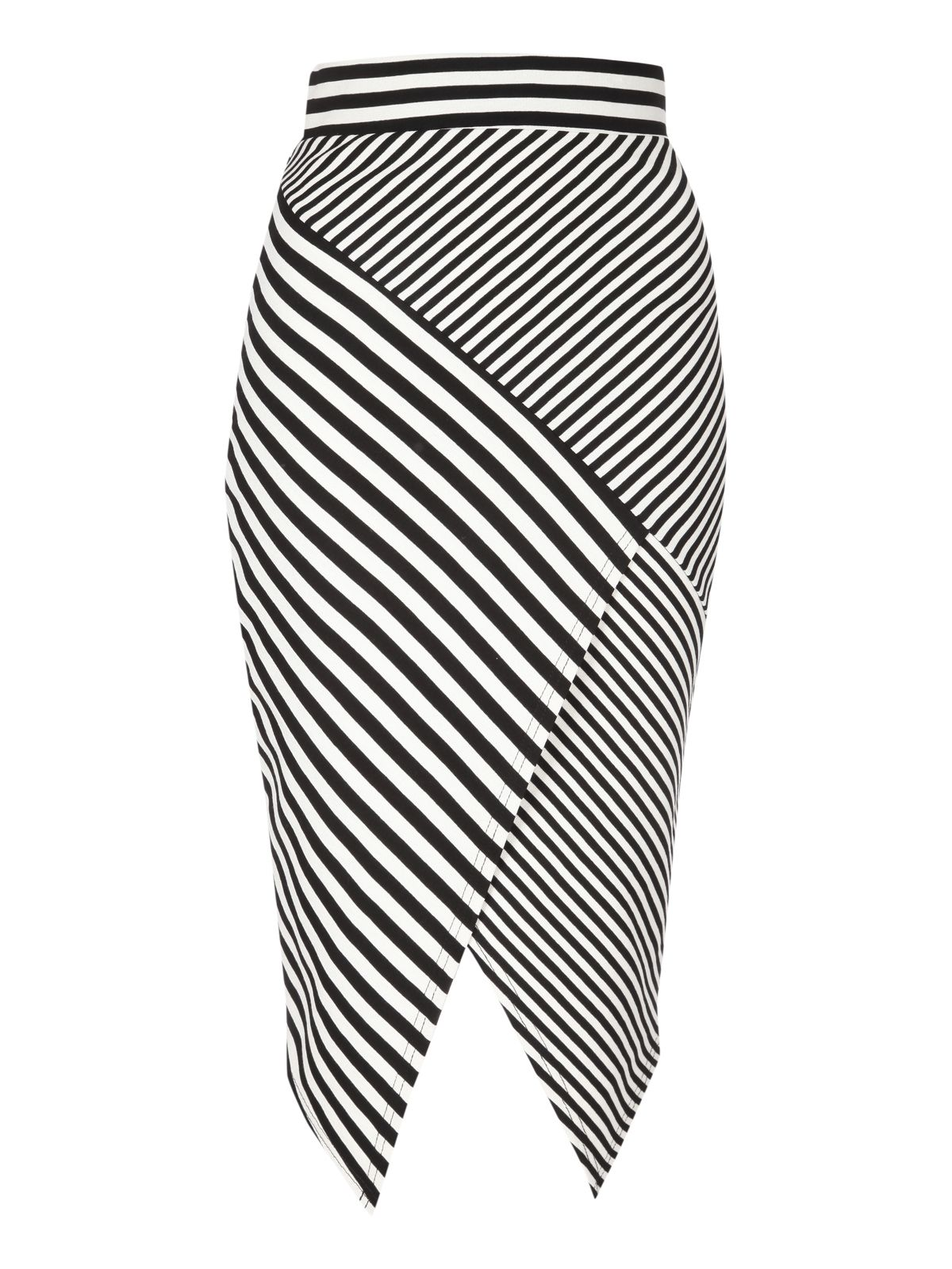 Striped asymmetric skirt