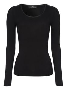 Long sleeve pu detail top