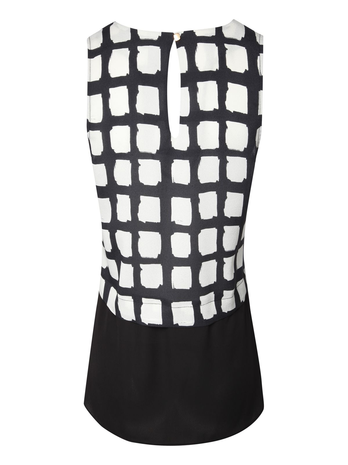 Monochrome V-neck Check Top