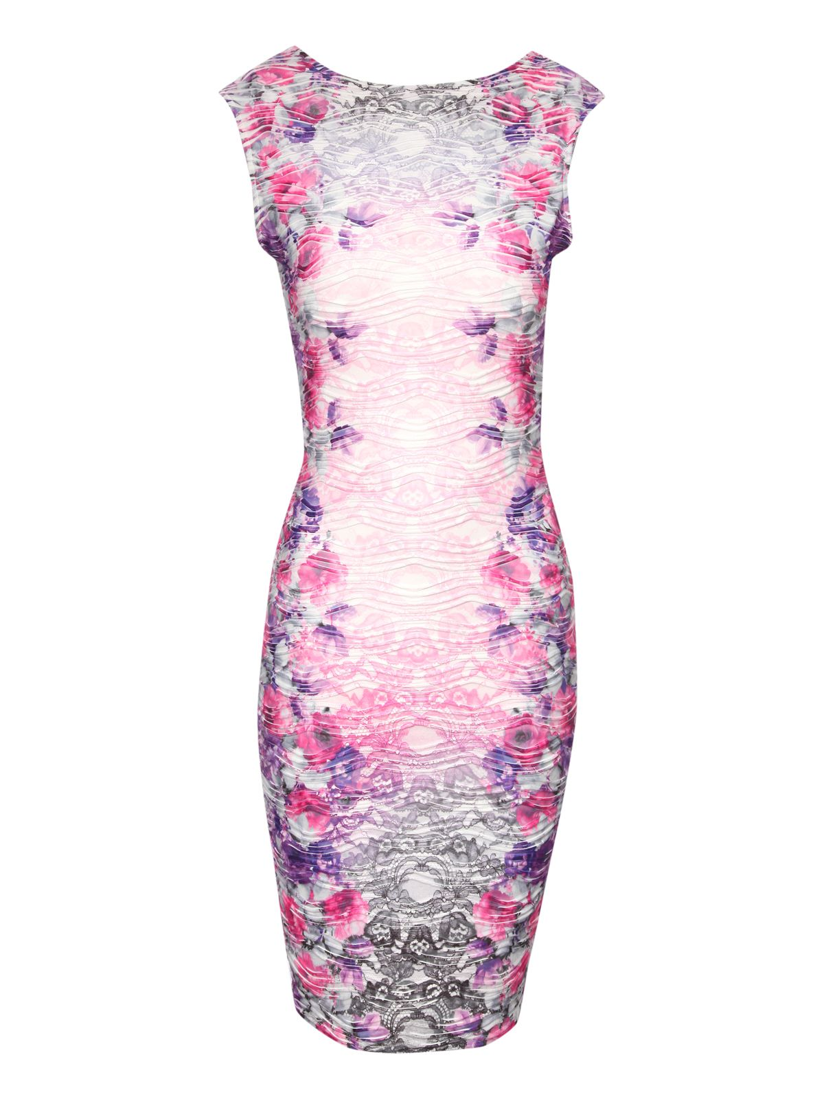 Floral Ripple Bodycon Dress