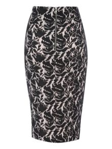 Bonded Lace Pencil Skirt