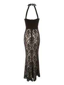 Twist neck lace maxi dress