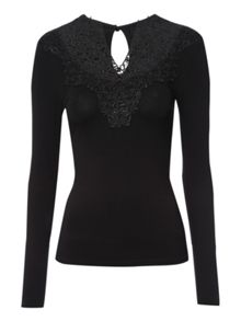 Long sleeve brocade detail top