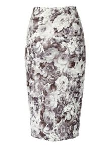 Floral ripple wave pencil skirt