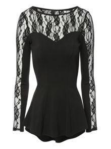 Lace Panel Fit and Flare Top