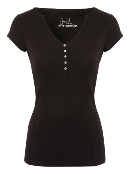 Jane Norman Ribbed Henley T-Shirt