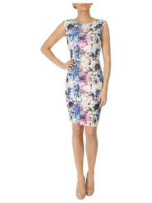 Floral ripple wave bodycon dress