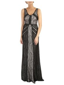 Double lace panel maxi dress