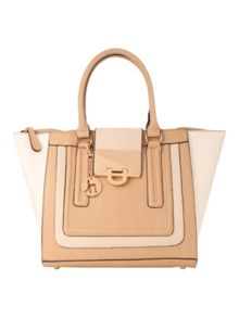 Tan Block Tote Bag