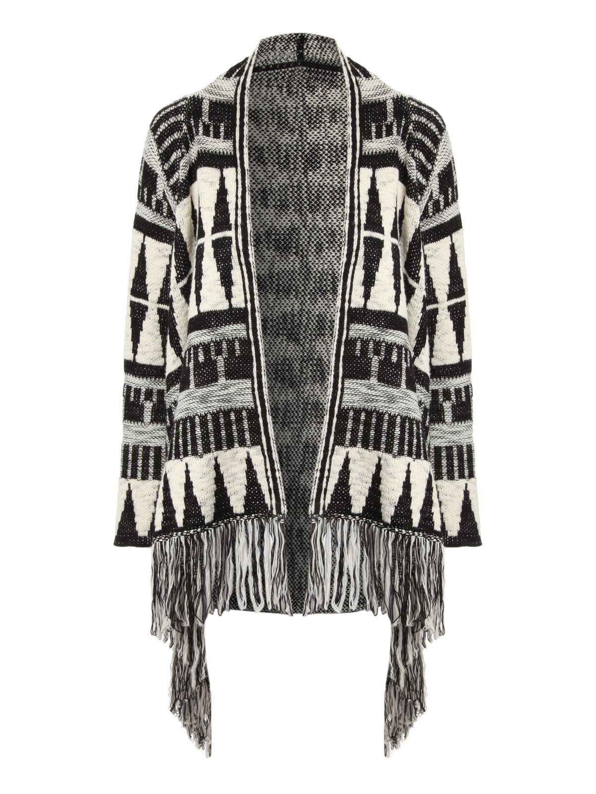 Jane Norman Aztec Fringed Cardigan Black