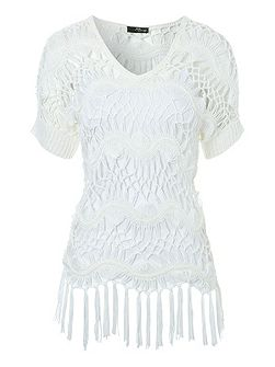 Crochet Jumper With Fringing Detail