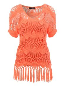 Jane Norman Crochet Jumper With Fringing Detail