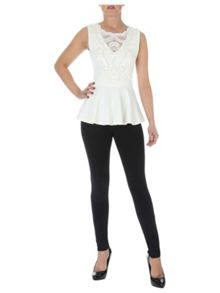 Beaded Trim peplum Top