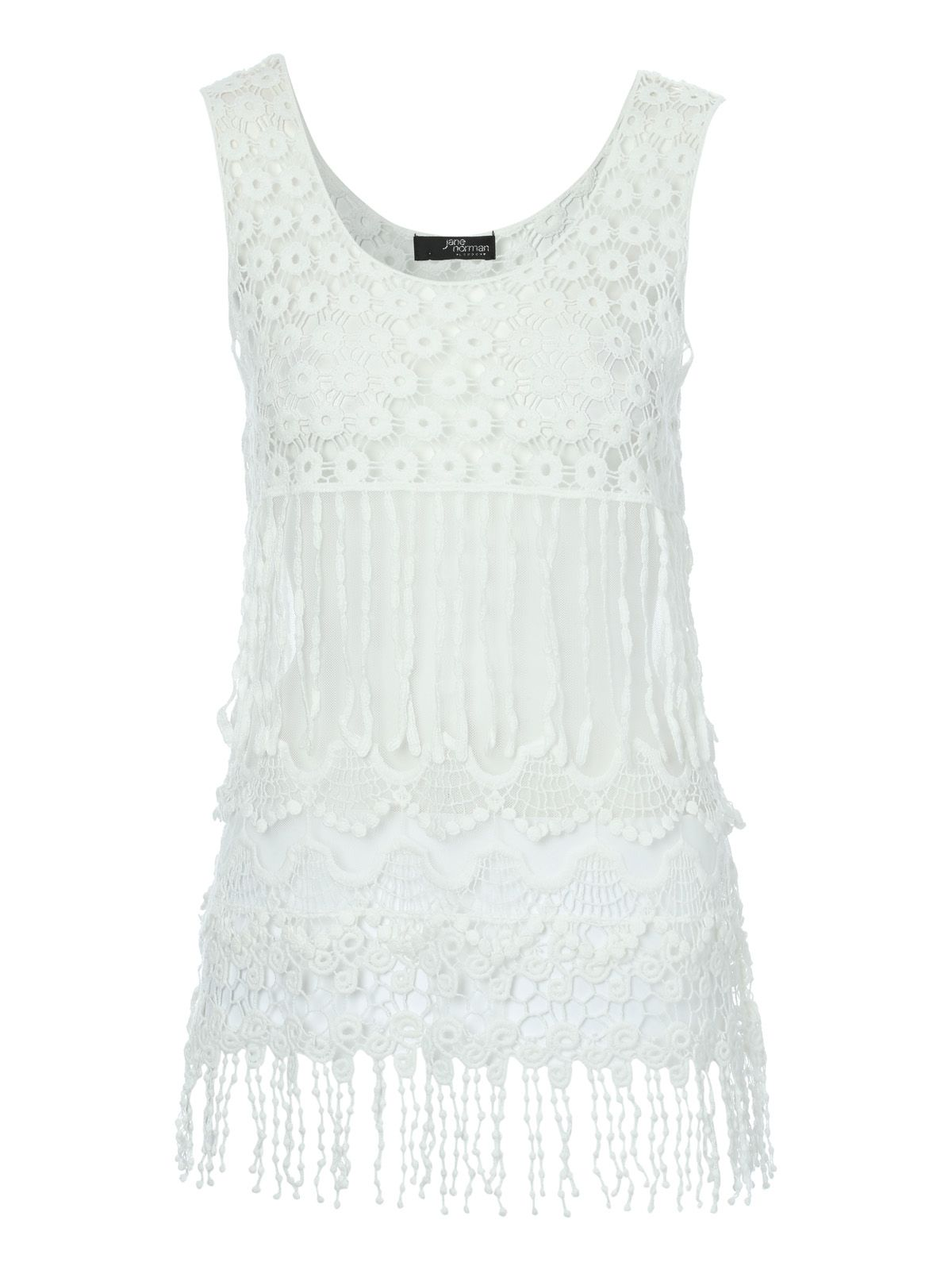 Jane Norman Fringe hem crochet top £25.00 AT vintagedancer.com