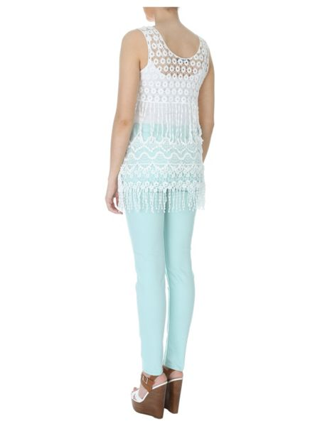 Jane Norman Fringe hem crochet top