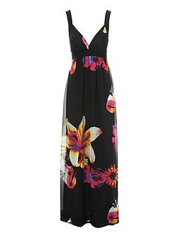 Jane Norman Floral Print low V Maxi Dress
