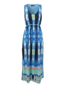 Belted Sea Breeze Maxi Dress