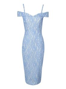 Bonded Lace Bardot Dress