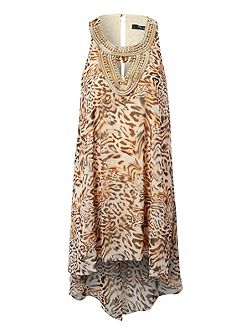 High Low Hem Leopard Print Dress