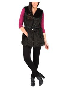 Black Feather Fur Zip Belted Gilet