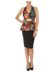 Jane Norman Halterneck Peplum Top