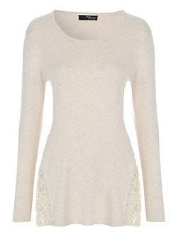 Cream Long Sleeve Lace Insert Jumper